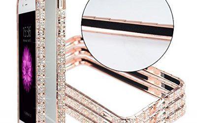 iPhone 6Plus Funda para iPhone6s Plus cristales diamante Sparkle Jeweled Marco de metal 100% hecha a mano, de diamantes brillantes Bling marco de metal Bumper case cover (Rose Gold Snake de 5,5pulgadas), compatible con Apple iPhone 6