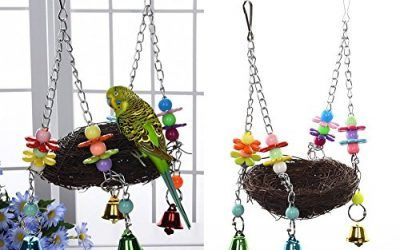 Keersi – Columpio nido con campanillas para pájaros