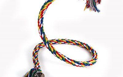 Juguete Cuerda de Espiral de Pájaro Mascota Colorido Loro colgante Cuerda de Algodón Oscilación Escalada Masticar Juguete de Pie