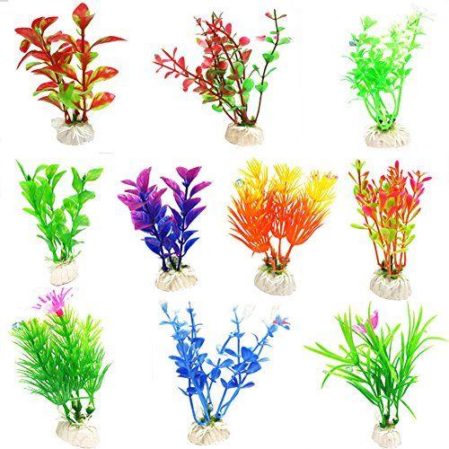 Wicemoon 10 piezas de simulación de plástico para acuario, pecera, tortuga, pecera, decoración de paisaje, falsas plantas acuáticas (color al azar)