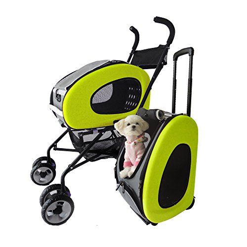 Innopet Cochecito para mascotas, IPS-020 verde, cochecito para perros, con ruedas, remolque, 5 en 1, buggy para mascota. Buggy para mascota plegable, cochecito, cochecito para perros y gatos. , mascotas