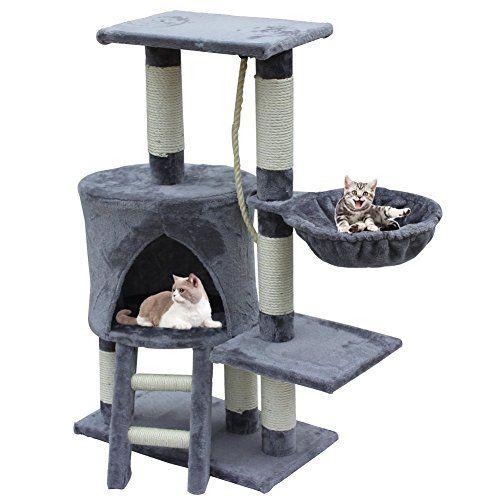 MC Star Árbol para Gato con Rascador de 96cm, Arañazo Juguete de Gatos de Sisal Natural,Gris , mascotas