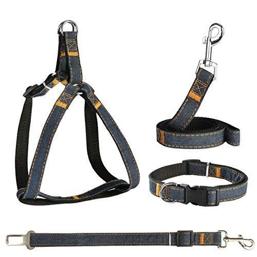 Powerowl Arnés para Perros 4 en 1 Dog Harness Safety Easy On/Off Ajustable No-Pull Outdoor Travel Belt Chaleco con Correa, Cinturón de Seguridad y Collar para Cachorro Perro pequeño/Mediano / Grande , mascotas