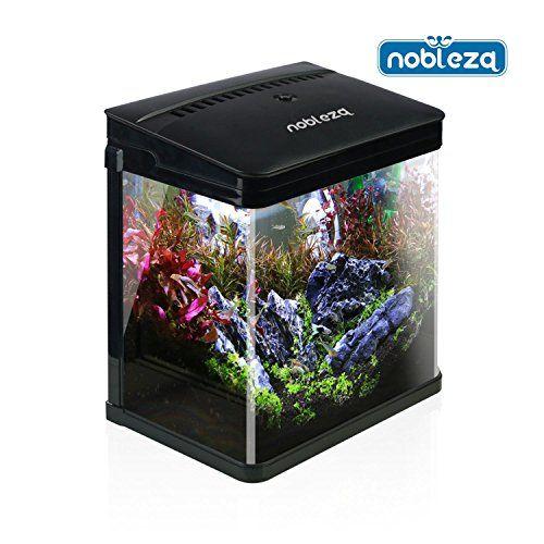 Nobleza 029990 – Acuario de cristal con cubierta color Negro. Capacidad de 7L