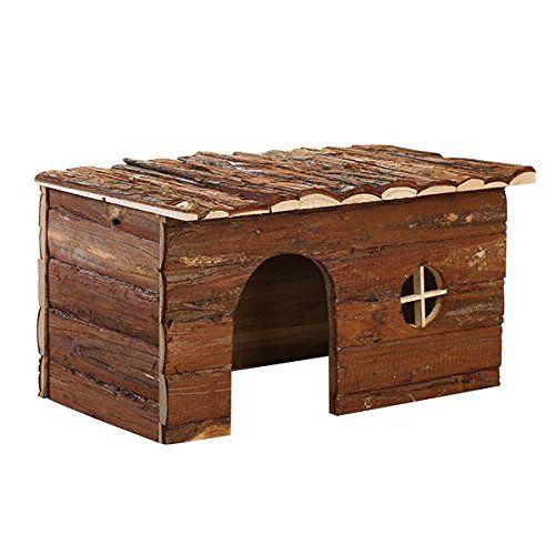 Nobleza 022151 – Casa refugio de madera para roedores. Tipo cabaña, amplia puerta y ventana. Medidas: largo 28 cm x ancho 16 cm x alto 18 cm
