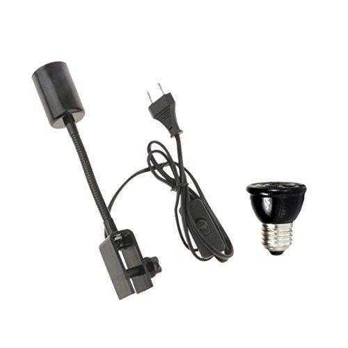Sharplace E27 Titular de Lámpara de Reptil Ajustable + Bombilla de Calor Infrarrojo de Cerámica Calor para Animal – UE – Negro 100W , mascotas