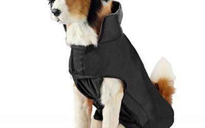SymbolLife Capa de Mascotas, 100% Chaquete Impermeable con Forro Nylon Capa del Perro Fácil Encendido y Apagado M Negro