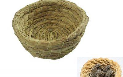 takestop Juego 2Piezas Zarzamora Nido cesta cesta de cuerda 10cm de colgar para pájaros pequeños animales roedores Criceti Pájaros