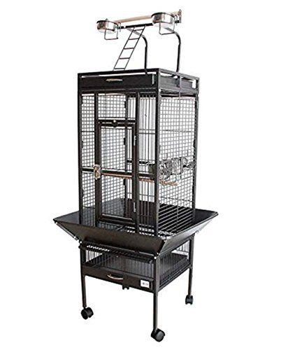 BPS Jaula Grande para Loro Pájaro Pajarera Periquito Canarios con Parque de Juegos Saltado Comedero Color Blanco/Negro 62 * 62 * 156 cm (Negro) BPS-1300