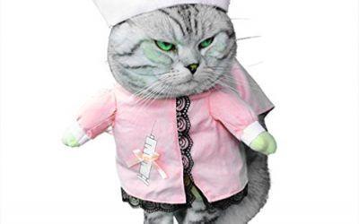 smalllee _ Lucky _ store pequeño perro ropa disfraz de enfermera para niñas niños gato perro con sombrero elegante lazo todas las estaciones, color rosa