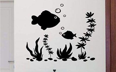 Meaosy Pegatinas De Pared De Pescado Extraíble Cartel Náutico Nursery Vinilo Acuario Etiqueta De La Pared Decoración Del Hogar Peces De Mar Estilo Vinilo Papel Pintado