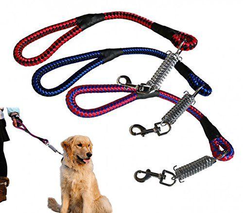 Correa corta para perro SAN DIEGO cuerda entrelazada con mosquetón y muelle 60cm