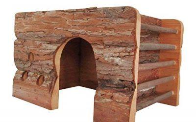 Nobleza 022229 – Casa refugio de madera para roedores. Tipo cabaña, amplia puerta. Medidas: largo 40 cm x ancho 25 cm x alto 29 cm