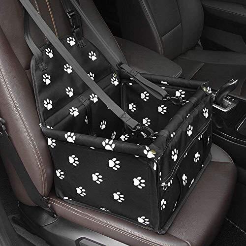 GENORTH Asiento del Coche de Seguridad para Mascotas Perro Gato Plegable Lavable Viaje Bolsas y Otra Mascota Pequeña con Cremallera Bolsillo (Negro con Las Huellas de la Pata)