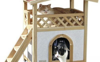 Kerbl Casa para gatos Tyrol Alpin 88 x 57 x 77 cm, natural, de exterior