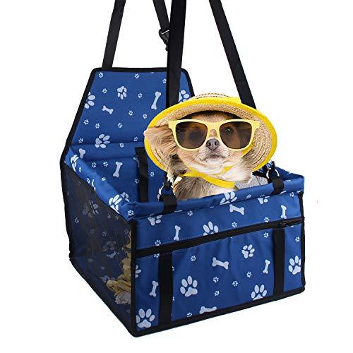 Minve Asiento de Coche para Mascotas, Plegable y Resistente al Agua, con Cinturón de Seguridad y Bolsa de Almacenamiento para Perros y Gatos , mascotas