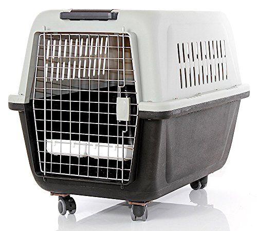 Transportín para perros y gatos homologado para usar en viajes por laIATA (Asociación Internacional de Transporte Aéreo), 97 x 67 x 75 cm, negro/crema