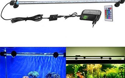 FVTLED Cambia color Lámpara de acuario 8W 62CM 33 luces SMD5050 LED Lampara Tira Pecera Sumergible Submarino Luz