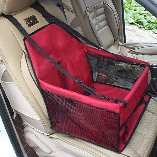 GENORTH® Asiento del Coche de Seguridad para Mascotas Perro Gato Plegable Lavable Viaje Bolsas y Otra Mascota Pequeña con Cremallera Bolsillo (Rojo)