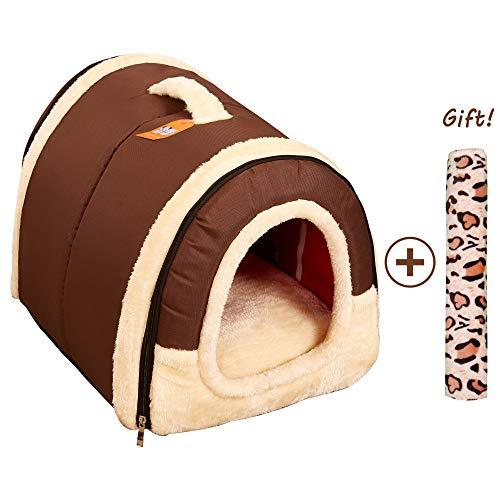 Casa/Caseta Perro Gato 2 en 1, Cama Mascota Interior Grande o Pequeño, Lavable Plegable Portátil Cueva de Viaje para Perros Grande/Medianos y Gatos (L:60cmx45cmx45cm, Marron)