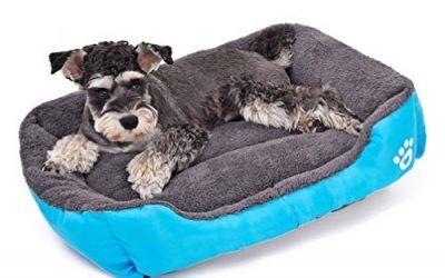 LA VIE Sofá Cama para Perro Impermeable en la Base Cojín Cama Cómoda y Suave para Mascotas Cesta para Gatos Cachorros Perros Pequeños y Medianos M Azul
