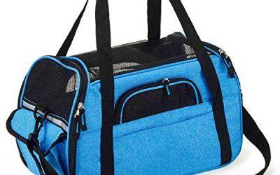 Kaka mall Transportín Perro Gato Transpirable Plegable Pet Carrier Impermeable Bolso de Hombro Acolchado Suave Viaje Avion Tren o Auto por Pequeños Mascota (Azul, L)