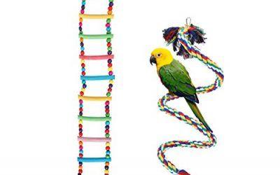 UEETEK 2 piezas coloridas escaleras de aves juguetes / Set, escaleras flexibles de 12 pasos de madera Rainbow Bridge oscilaciones y cuerdas de aves 1M escalera de loros Juguetes accesorios de la jaula para loros mascotas de capacitación