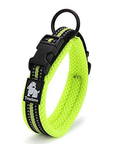 PENTAQ Collar de perro de malla de nylon resistente suave transpirable con la raya reflexiva de la seguridad de la noche, cómodo Collar acolchado ajustable para los perros pequeños / medios / grandes, verde (L (45-50cm))