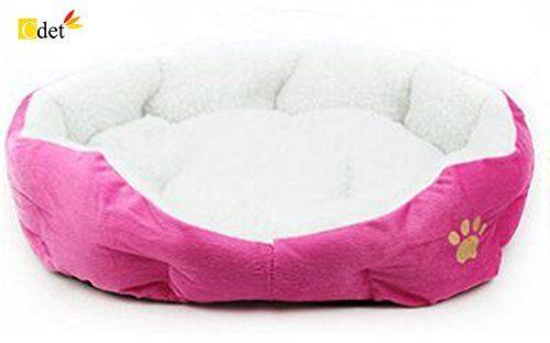 Cdet Cama para Mascotas Redonda o de Forma Oval dimple Fleece Nesting Perro Cueva para Gatos y Perros pequeños,46cm*42cm,Rosa roja , mascotas