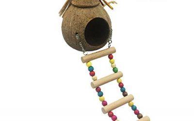 amyove Natural Coco carcasa Parrot diseño de caseta de nido casa jaula para pájaros