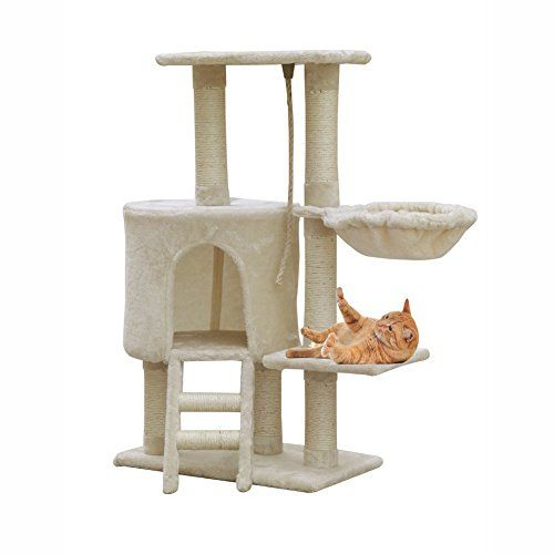 MC Star Árbol para Gato con Rascador de 96cm, Arañazo Juguete de Gatos de Sisal Natural,Beige