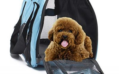 Transportín de viaje para mascotas, de Display4top, cómodo, ampliable, plegable, para perros y gatos, 43 x 20 x 28 cm