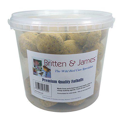 Britten & James 40 Bolitas de Grasa de Primera Calidad Conveniente Tina con Cierre hermético Que no se ensucia. Uno de los Alimentos energéticos más concentrados y de fácil metabolización. , mascotas
