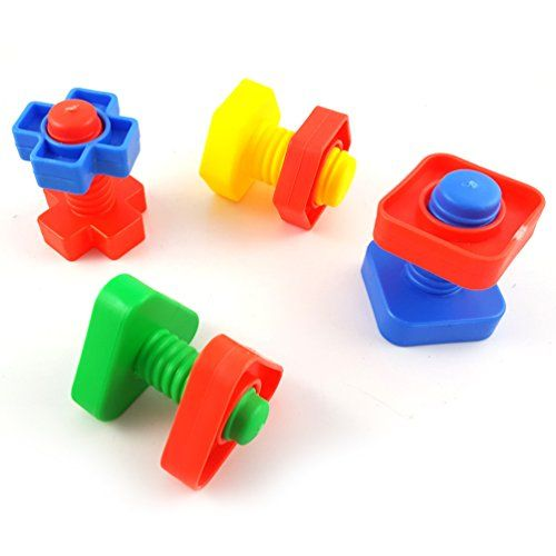 Juego de 4 piezas de juguetes inteligentes de pájaros con tornillo para entrenamiento de loro, periquito, cacatúa, cono de pájaro, macaw africano, gris