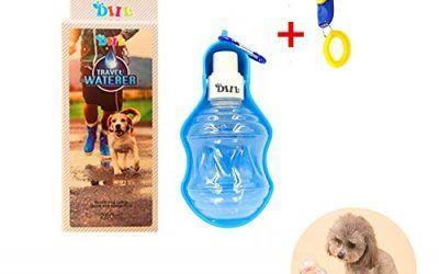 DIIL – Botella de Agua Plegable para Perro o Gato, para Viajes, con Mosquetón, para Exteriores