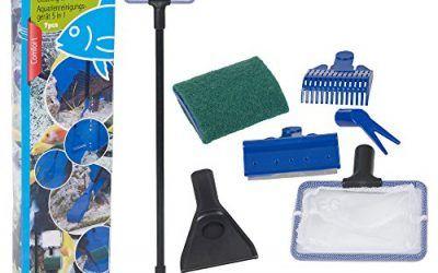 Kit de limpieza de acuario 5 en 1 para acuario, para pecera, rastrillo de grava, rascador de algas, tenedor, juego de herramientas de esponja