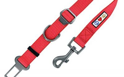 Pawtitas Cinturón de seguridad de coche para perros con correa de sujeción para mascotas color rojo , mascotas