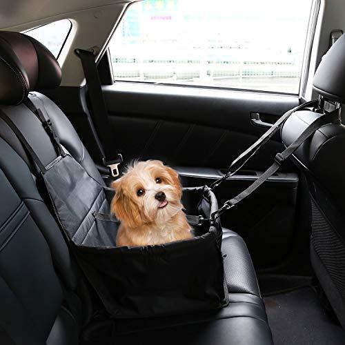 IvyLife Asiento del Coche de Seguridad para Perro y Gato Cubierta de Asiento Impermeable de Automóvil para Mascota, Funda Protector de Coche Plegable para Mascota con Cinturón de Seguridad – Negro