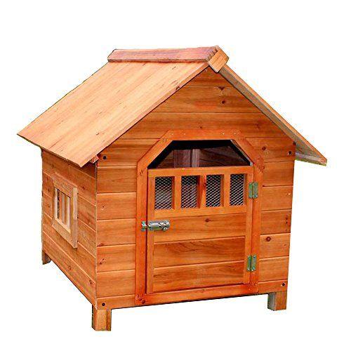 LDFN Caseta De Perro De Interior Y Exterior De Madera Maciza Perrera De Lluvia Perrera Ambiental Gatos del Abeto Anidan Casa De Mascotas,Brown-56 * 45 * 48cm