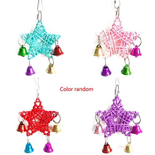 Provide The Best Colorful Lovely Parrot Toys Hanging Bell Jaula de Madera Juguetes para pájaros Ardilla Funny Chain Swing Toy Color Aleatorio
