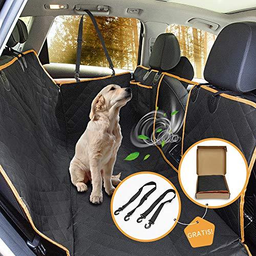 Pet-U Cubierta Asiento Coche Perro 165x130cm Funda Coche Perro Evitar pelos Impermeable y Resistente, con Rejilla Flexible Pasar Aire, Universal para SUV, Camión, Transportar y Viaje