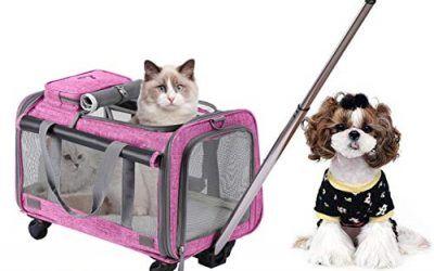 Trasportín plegable con ruedas para mascotas con cómodo forro polar para viajes, senderismo, campin, diseñado para gatos y perros pequeños y grandes, con ruedas giratorias de 360 °, de Movepeak