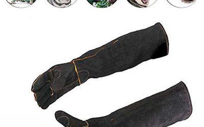 Guantes de alimentación para animales Color negro Animales de compañía Manipulación de guantes Guantes a prueba de mordidas Acolchado de cuero Perro Gato Rasguño Manipulación de aves Guantes de halcon