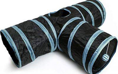 igadgitz Home U6979 – Túnel para Gatos Plegable con Tres vías Túnel Conejo Juego para Gatos Interactivo con Pelota Colgante – Hogar/Exterior – Negro/Ribete Azul