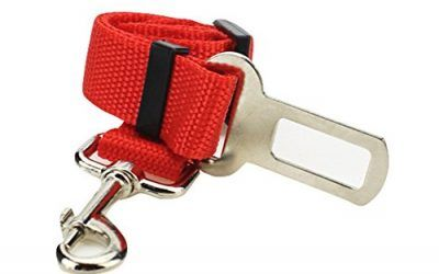 Hosaire Cinturón de Seguridad para Perros,Cinturón Ajustable de Nylon para Trasportar Mascotas de Viajes Cinturón de Perros de Asiento de Coche Color Rojo