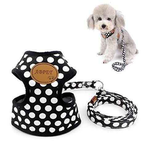 Zunea Nylon Soft Mesh Transpirable Mascota Cachorro Pequeño Perro Gato Chaleco Arnés y Correa Set Leads Ajustable No Pull Walking Control Negro S