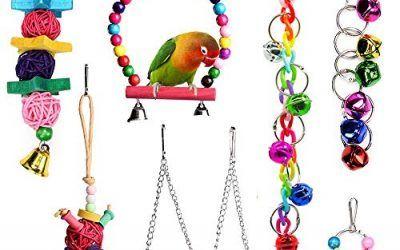 Juguetes para Pajaros, Juguete de ave Colorida para Masticar Pájaros Columpios de Juguete Juguetes, Colgar Juguetes de Jaula de Pájaros o Pequeños Periquitos Cockatiels Conure Guacamayos 7 Piezas