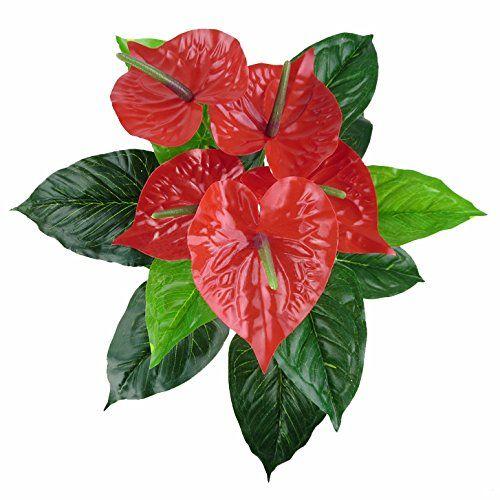 jarown Lucky de hojas de las plantas de flores artificiales Anthurium rojo artificial real Touch flores para oficina decoración del hogar