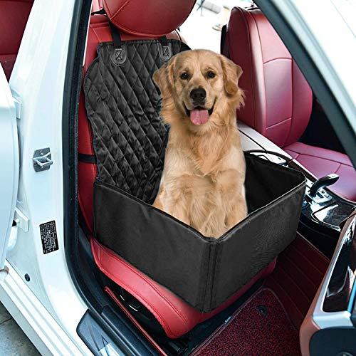 JIOUDI Protector de Asiento de Coche para Mascota Perro Gato Asiento Cubierto Caja de Transporte 2 en 1 Funda Impermeable y Resistente (Negro)