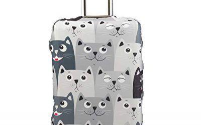 Maddy's Home Protector de maleta divertida de dibujos animados para equipaje de 23-32 pulgadas (gato gris, M (Fit 23″-25″ suitcase))